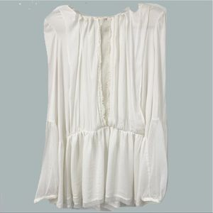Free people Ivory lace trim peasant top